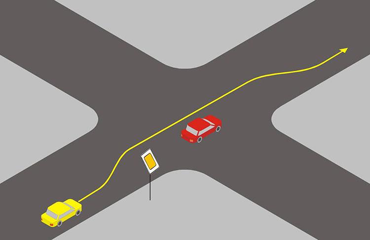 обгон на пересекающихся дорогах