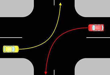 поворот налево